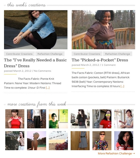The Sew Weekly Home Page on Friday, March 2, 2012