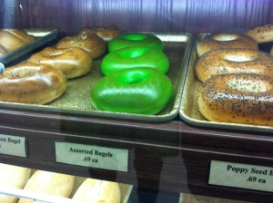 Green Bagels at the Supermarket Bakery