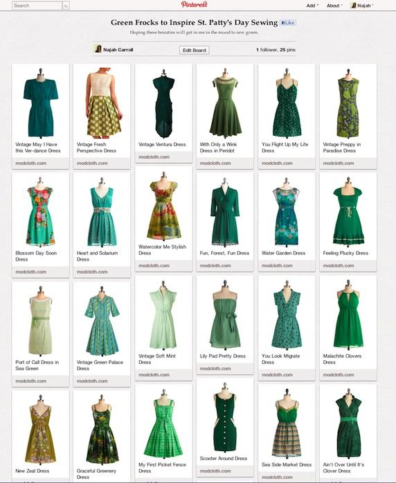 Green Frock Pinterest Board