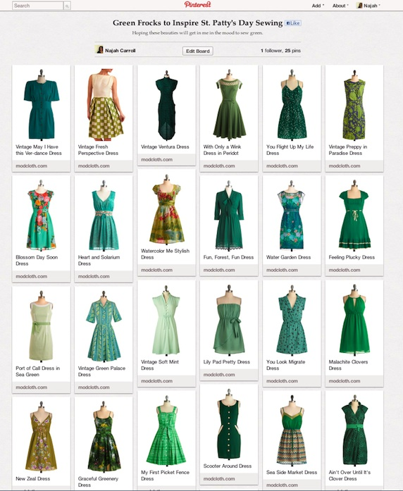 Green Frock Pinterest Board