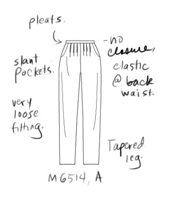 Line drawing of McCall's 6514 pants pattern