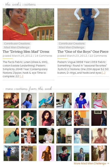 The Sew Weekly Homepage on March 24, 2012