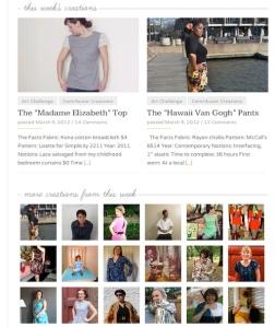 Screenshot of Sew Weekly Homepage on 3/9/12