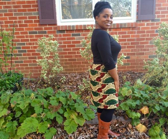 African Straight Skirt Custom Block, side view