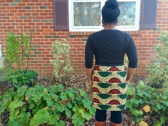 African Straight Skirt Custom Block , back view