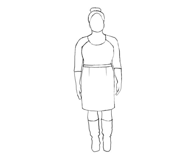 Straight Basic Skirt Sketch