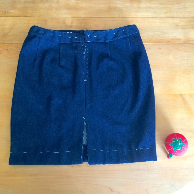 Hand-basted denim pencil skirt