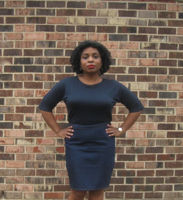 Denim Pencil Skirt, front view