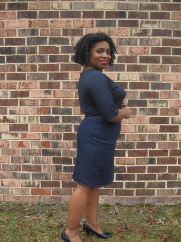 Denim Pencil Skirt, side view