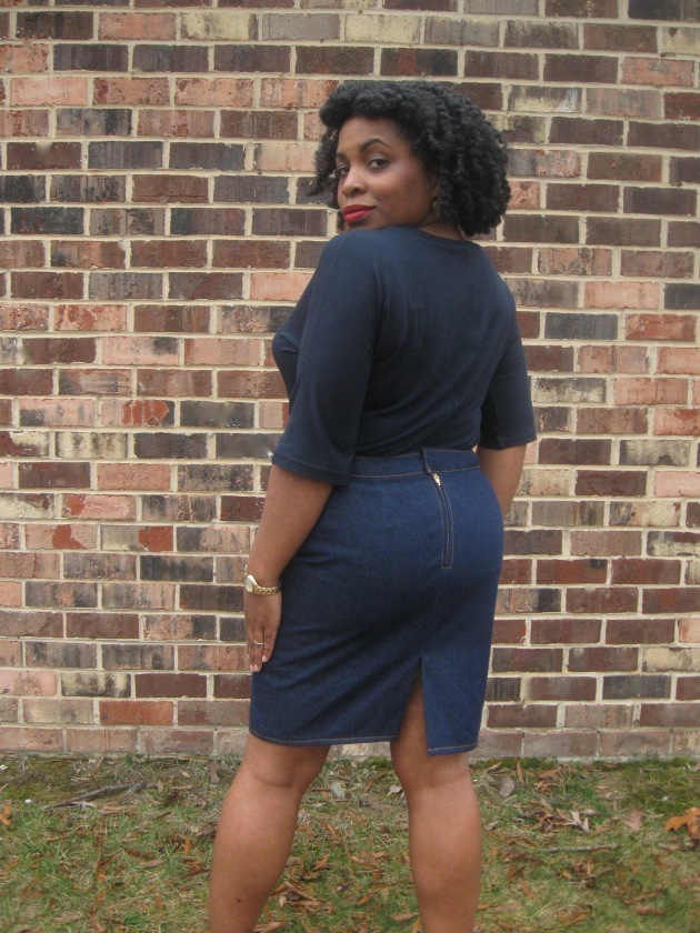 Back view, denim pencil skirt