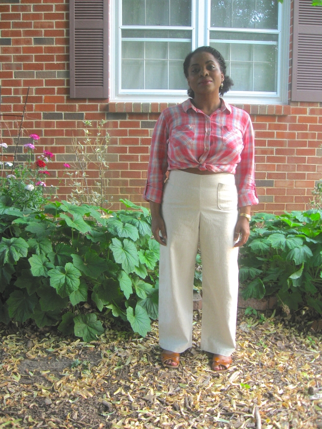 Najah Carroll's Self-Drafted Linen Trousers (front view)