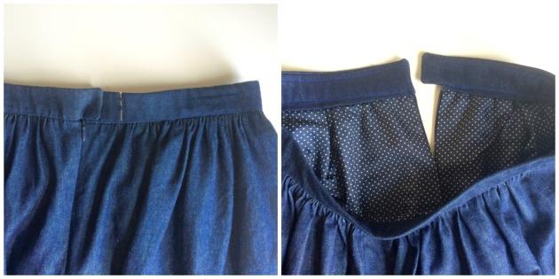 Handmade denim dirndl skirt: waistband, lining
