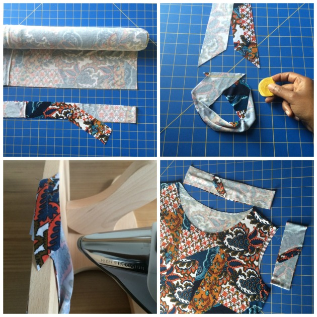Knit binding with mitered seams
